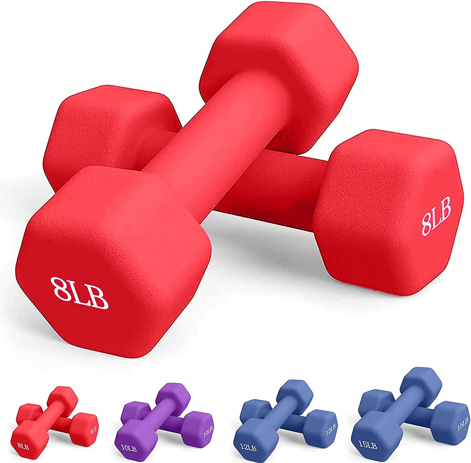 1 Pair Neoprene Coated Dumbbell Weights 2 3 5 6 8 10 LB Pound
