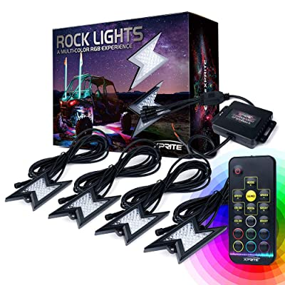 Xprite 4pc RGB LED Rock Lights with Wireless Remote Control, Flashing, Auto Scroll Modes, Multicolor Lightning Pods Kit for Underglow Off Road Truck JEEP UTV ATV SUV - Z-Force (Patent Pending Design): Automotive