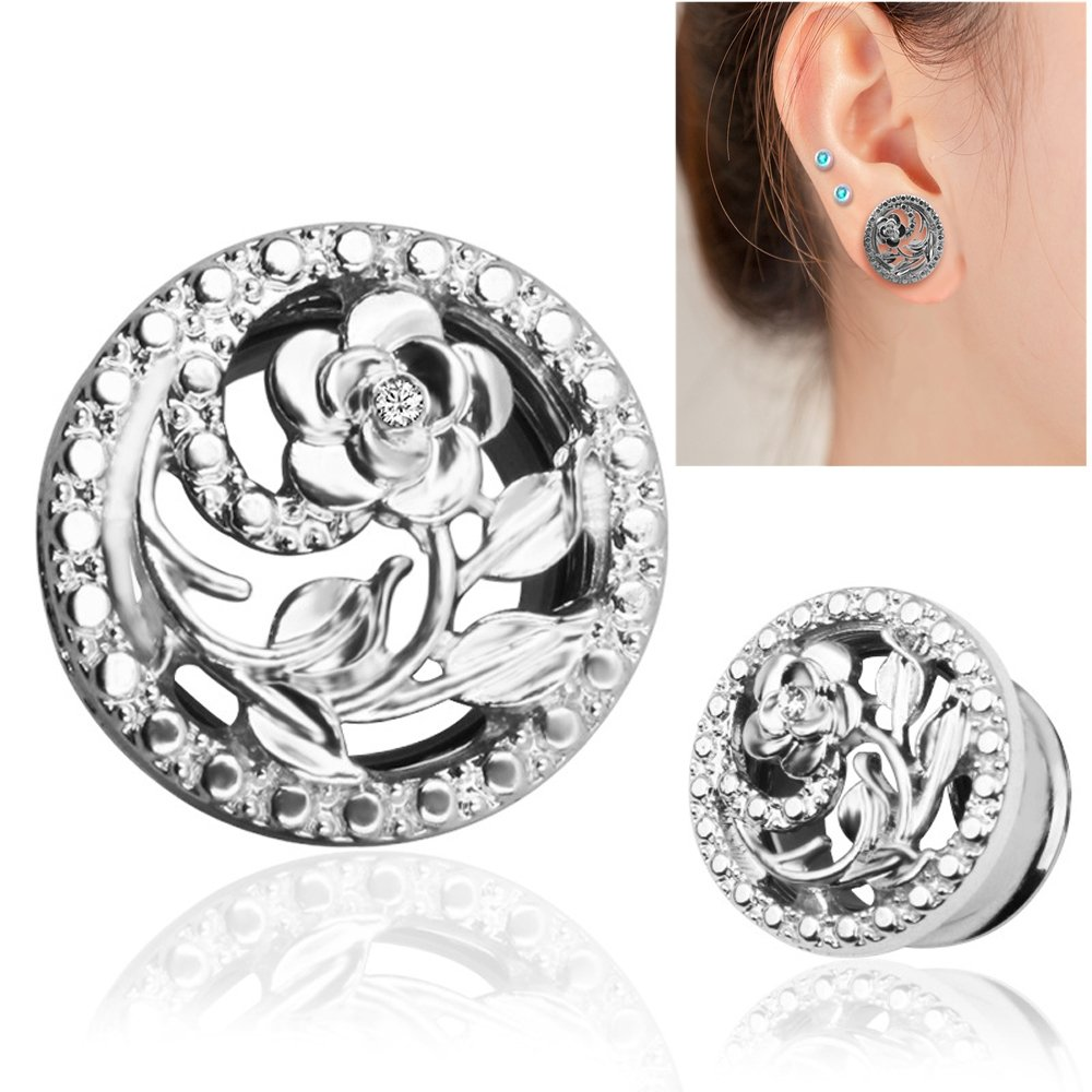 BODYA Unisex Stainless Steel Ear Tunnels Round Plugs with Hollow Flower Silver and Gold Piercing Jewelry, Two Pairs/4Pcs (Gauage:2g(8mm)) by BODYA (Image #2)
