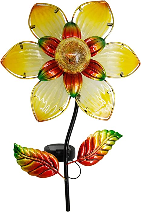 MAGGIFT 38 Inch Garden Solar Flower Light, Solar Powered Outdoor Glass Petals Metal Stake Lights, LED Lighting Glass Ball, Decorative Lights for Walkway, Pathway, Patio, Yard, Lawn, Warm White