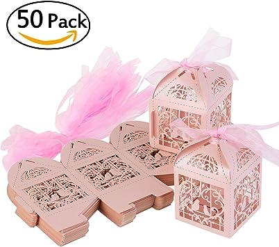 ULTNICE 50 cajas de regalo troqueladas para bodas, caramelos, chocolate, con cintas para boda, compromiso, despedida de soltera: Amazon.es: Bricolaje y herramientas