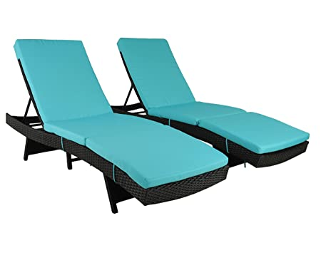 Patio Furniture Chair Set Outdoor Patio Lounger Black Rattan Wicker Pool Deck Chairs Adjustable Cushioned Outdoor Chaise Lounge Chair Turquoise Cushions,Set of 2