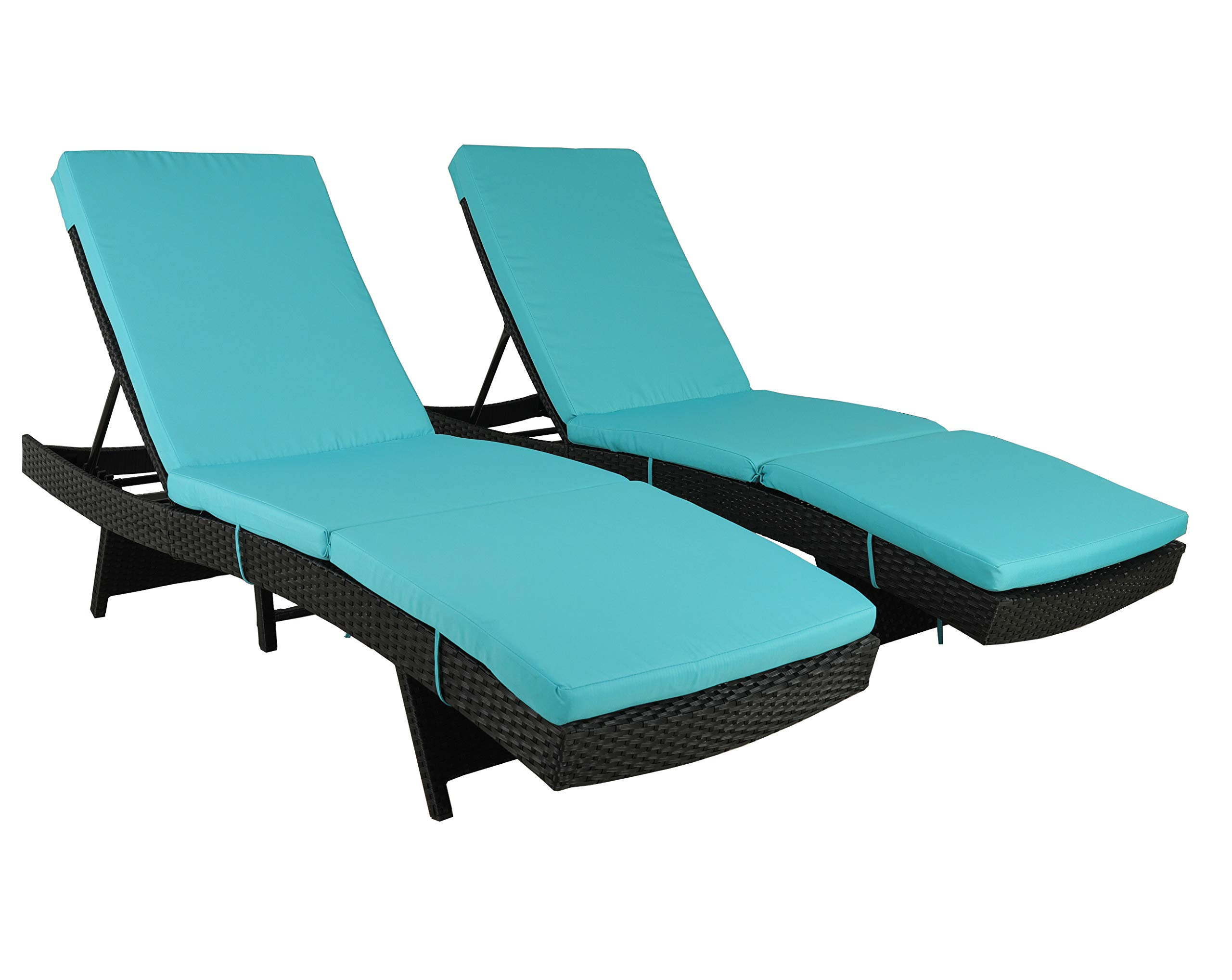 Patio Furniture Chair Set Outdoor Patio Lounger Black Rattan Wicker Pool Deck Chairs Adjustable Cushioned Outdoor Chaise Lounge Chair(Turquoise Cushions,Set of 2)