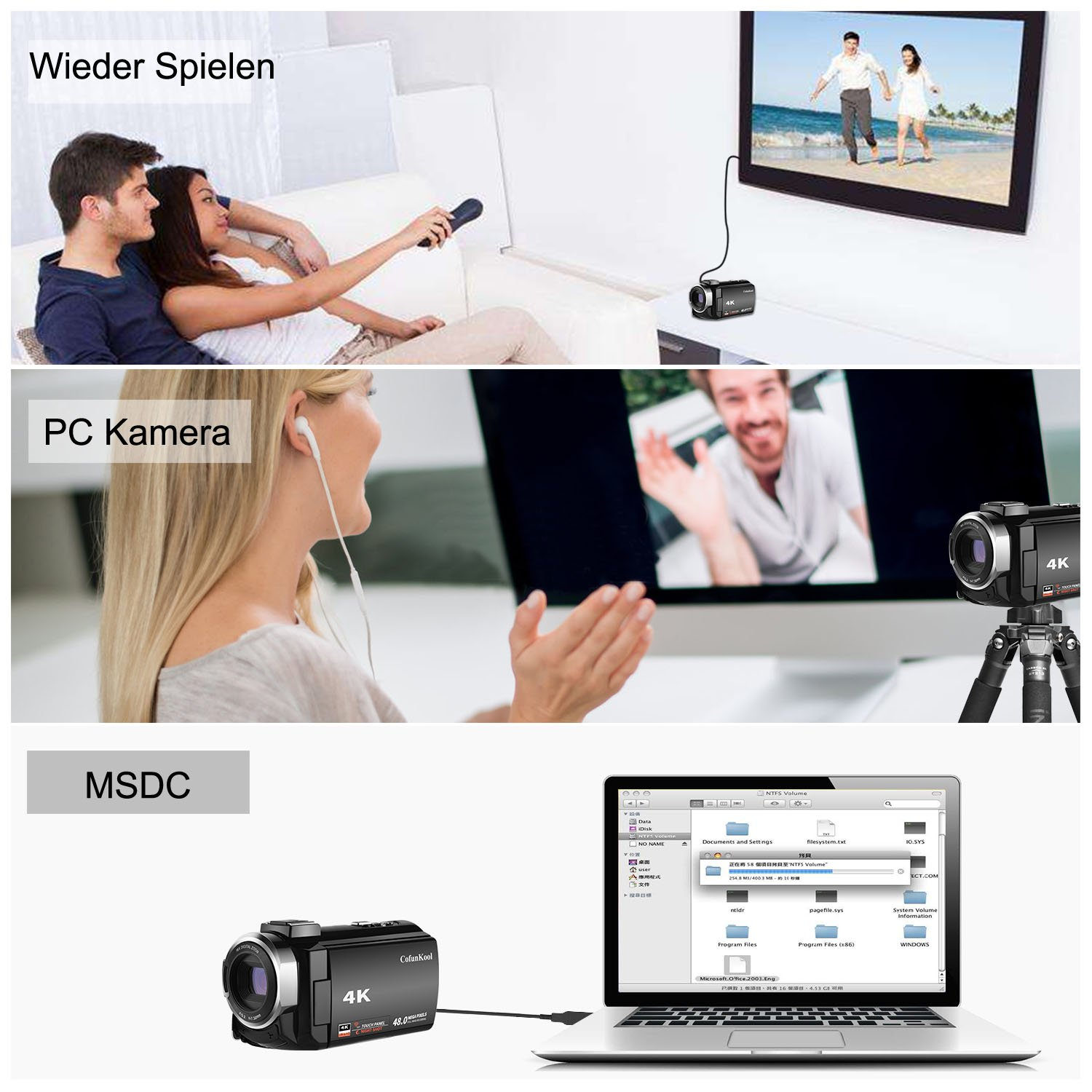 4K Camcorder 1080P 60FPS Videokamera Cofunkool WiFi 48MP 3.0 Zoll IPS Touchscreen Nachtsicht Digital Kamera mit LED Licht