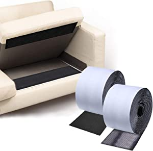 TEUVO Couch Cushion Non Slip Pads to Keep Couch Cushions from Sliding, Hook and Loop Tape with Adhesive for Smooth Surfaces, 2m Long and 11cm Wide