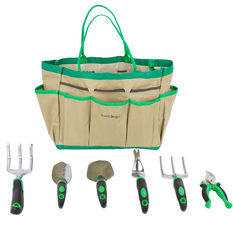 Amazon.com : TrueFit Designs 7 Piece Garden Tool Set With Durable Cast  Aluminum Heads Plus Ergonomic Handles And Sizable Garden Tote Bag : Garden  U0026 Outdoor