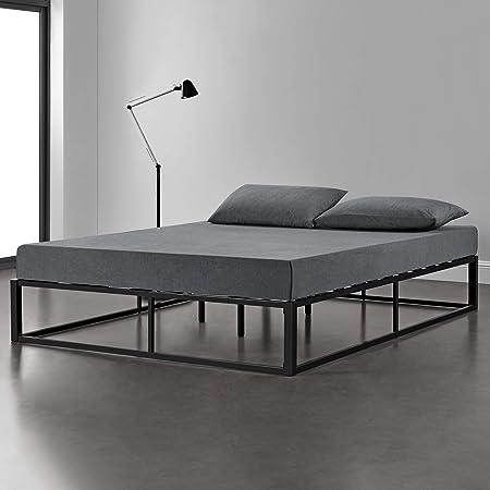 [en.casa] Cama de Metal 200cm x 200cm Estructura Estable con Somier Plataforma de Base Resistente Negro