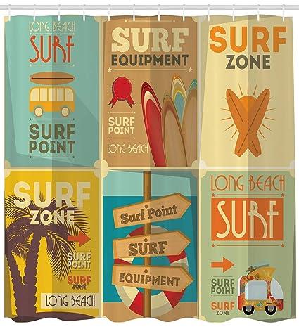 Amazon com: Lunarable Surf Shower Curtain, Retro Posters
