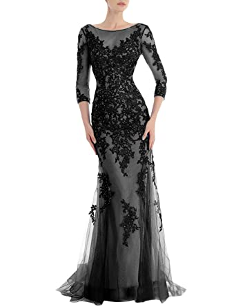 Monalia Womens Long Sleeves Prom Dresses 2017 Formal Evening Gown Size 2 Black