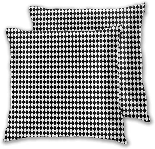 Cushion Covers Pack of 2 Cushion Covers Throw Pillow Cases Shells for Couch Sofa Home Decor Mini Black and White ...
