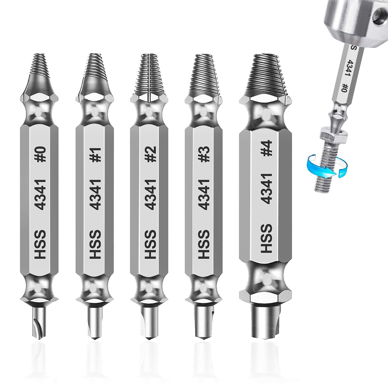 Screw Extractor and Remove Set of 5 PCS Easily Remove Damaged Screw