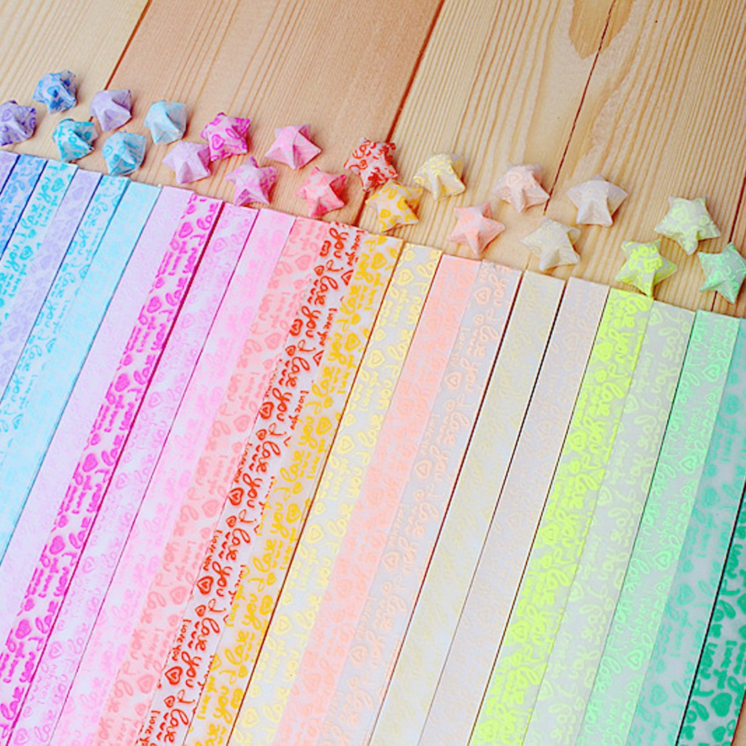 Origami Paper Stars Glow In the Dark Folding Lucky star Strips,10 Colors 250 Sheets