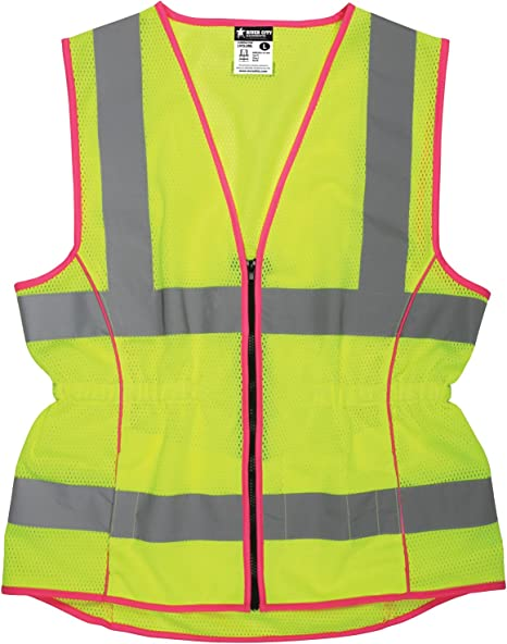 MCR Safety LVCL2MLM Ladies Sized Class 2 Lightweight Safety Vest Zipper Front Silver Reflective Stripe Lime Medium