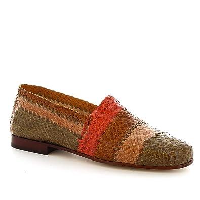 profitez de la livraison gratuite emballage fort meilleur grossiste Leonardo Shoes Mocassins à la Main pour Femme en Cuir tressé ...