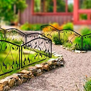 "Ethemiable Decorative Outdoor Rustproof Metal Garden Fence Panels Border for Patio Landscape Plant Flower Vegetable Bed Protective,Animal Barrier Sections Folding Edge Fencing (28""x 28""x 5 Panels)"