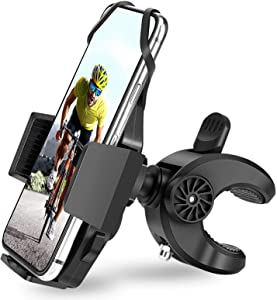 AONKEY Bike Phone Mount – One Touch Release Phone Holder for Bike Handlebar/Stem, Universal Mountain Bicycle & Motorcycle Holder Compatible with iPhone 12, Pro/11Pro/XS, 4