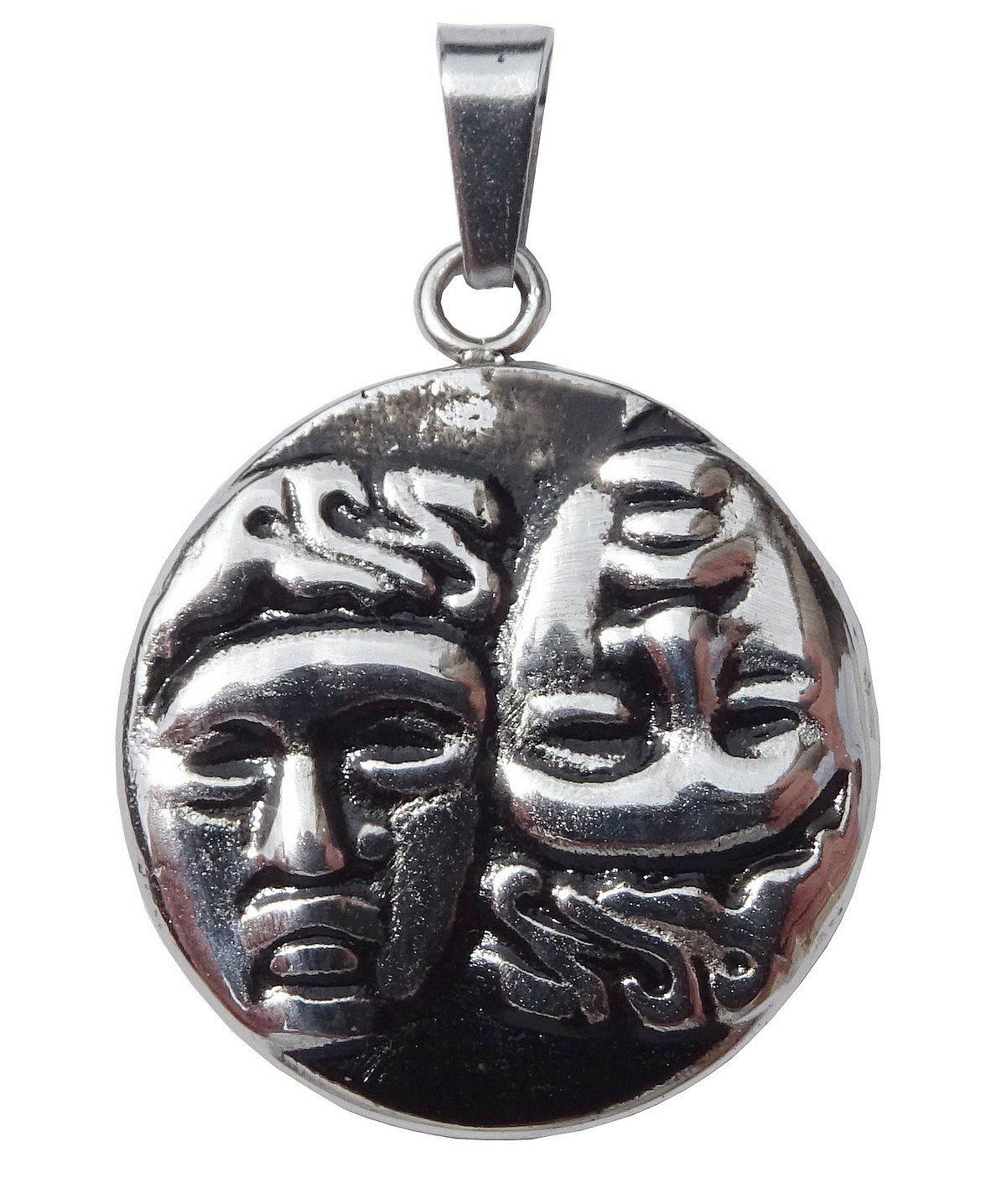 ♊ Pendentif Piè ce de Monnaie Grecque Castor et Pollux Symbole des Jumeaux dans la Mythologie Grecque et sa chaî ne. Envie Bijoux