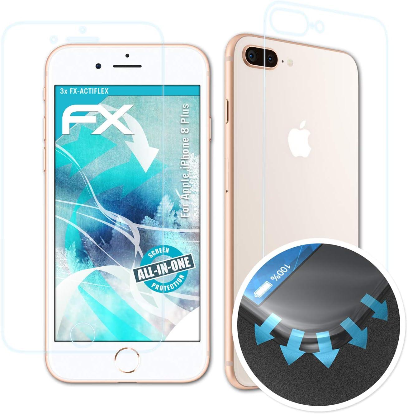 atFoliX Película Protectora Apto para Apple iPhone 8 Plus Protector Película, Ultra Claro y Flexible FX Lámina Protectora de Pantalla (Set de 3): Amazon.es: Electrónica