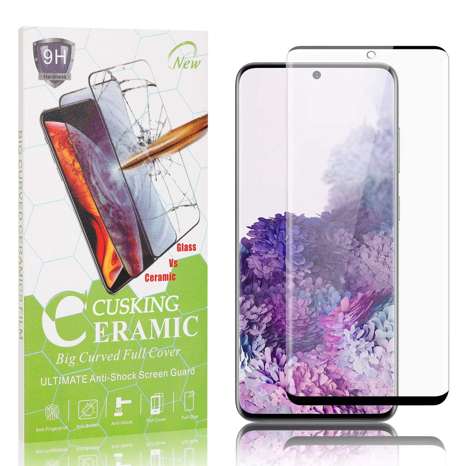Bubble Free 4 Pack CUSKING Screen Protector for Galaxy S20 99.99/% Clarity 9H Screen Protector for Samsung Galaxy S20 Ultra Thin Tempered Glass