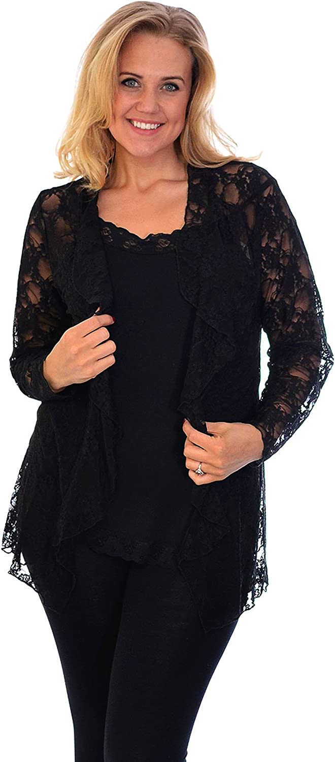 Nouvelle Collection New Womens Plus Size Floral Lace Cardigan Ladies Long Sleeve Waterfall Frill Jacket