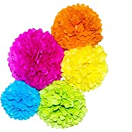 Glorious Year 15pcs Paper Pom Poms 10, 12, 14 Inch Set Paper Flowers,Perfect for Wedding Decor - Birthday Celebration - Wedding Party and Outdoor Baby Shower Decoration