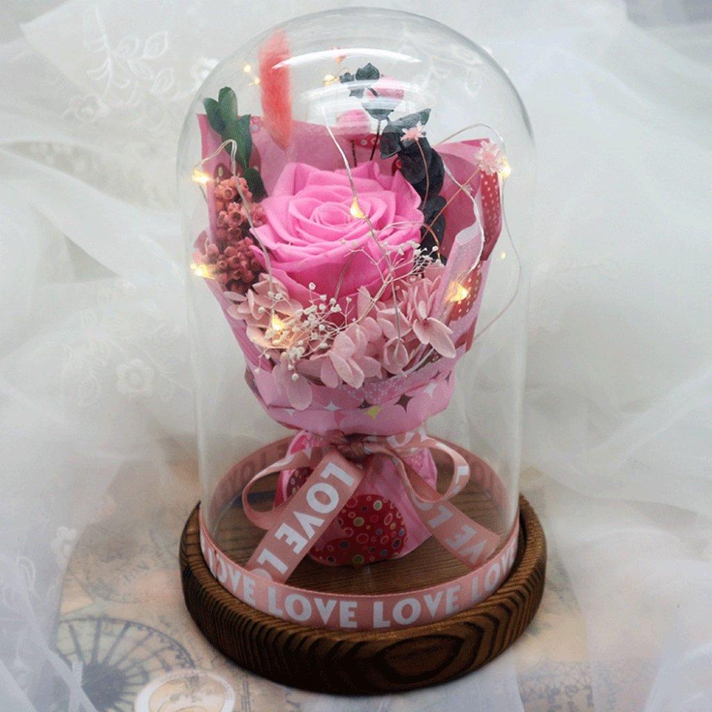 光るガラスカバー不滅の花の小さな花束乾燥花のギフトボックスバレンタインギフトクリスマスギフトは、彼のガールフレンドを送信する (色 : 2#) B07CWMRTK5 2# 2#