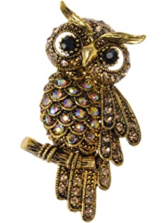 Alilang Antique Multicolored Crystal Rhinestone Perched Little Owl Branch Pin  Brooch