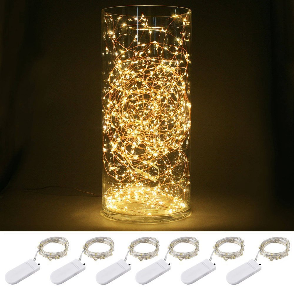 6 Pack 30 Micro Starry LED Silvery Copper Wire Lights With 12PCS CR2032 Batteries For Gardens Lawn Patio Parties Wedding Centerpiece