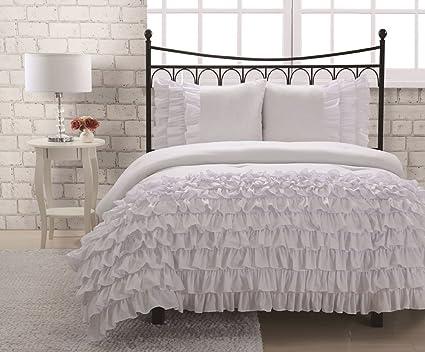 Amazon.com: Full Miley Mini Ruffle Comforter Set White: Home & Kitchen