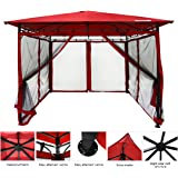 Quictent Metal Hardtop Gazebo 10' x 10' Red Canopy Backyard Shelter Watereproof With Mosquito Flys Mesh Screen