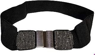 product image for Funfash Belt Black Shimmering Stones Buckle Stretchy Elastic Belt Plus Size