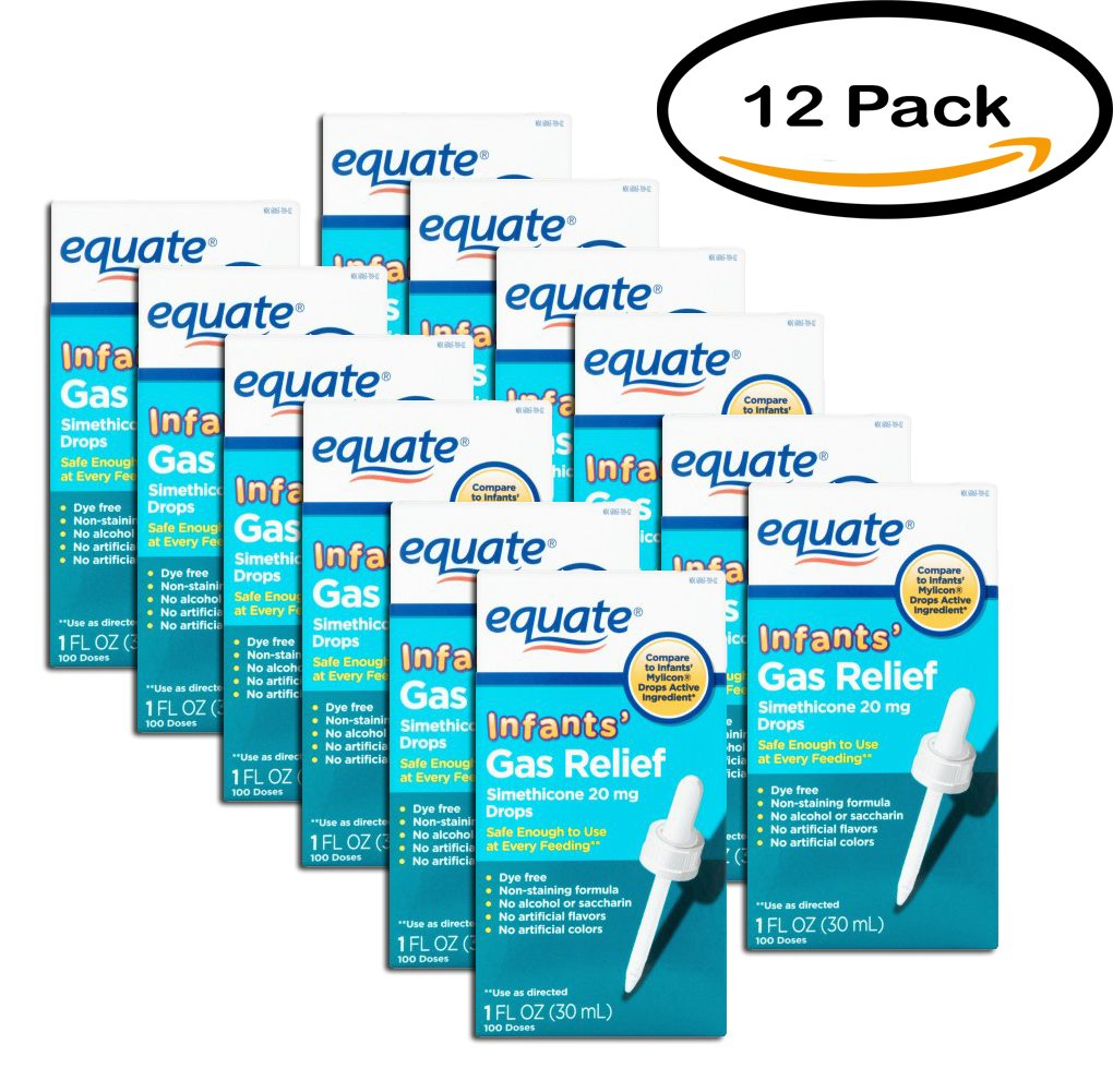 PACK OF 12 - Equate Non Staining Formula Infants' Gas Relief Drops, 1 fl oz by Equate