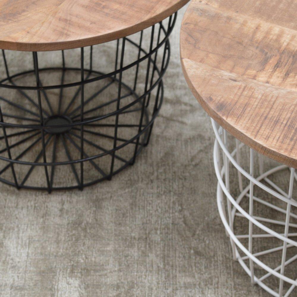 Couchtisch Korb weiß oder schwarz Metall Mango Beistelltisch Sofatisch Tisch Tisch Tisch (weiß) 8729a5