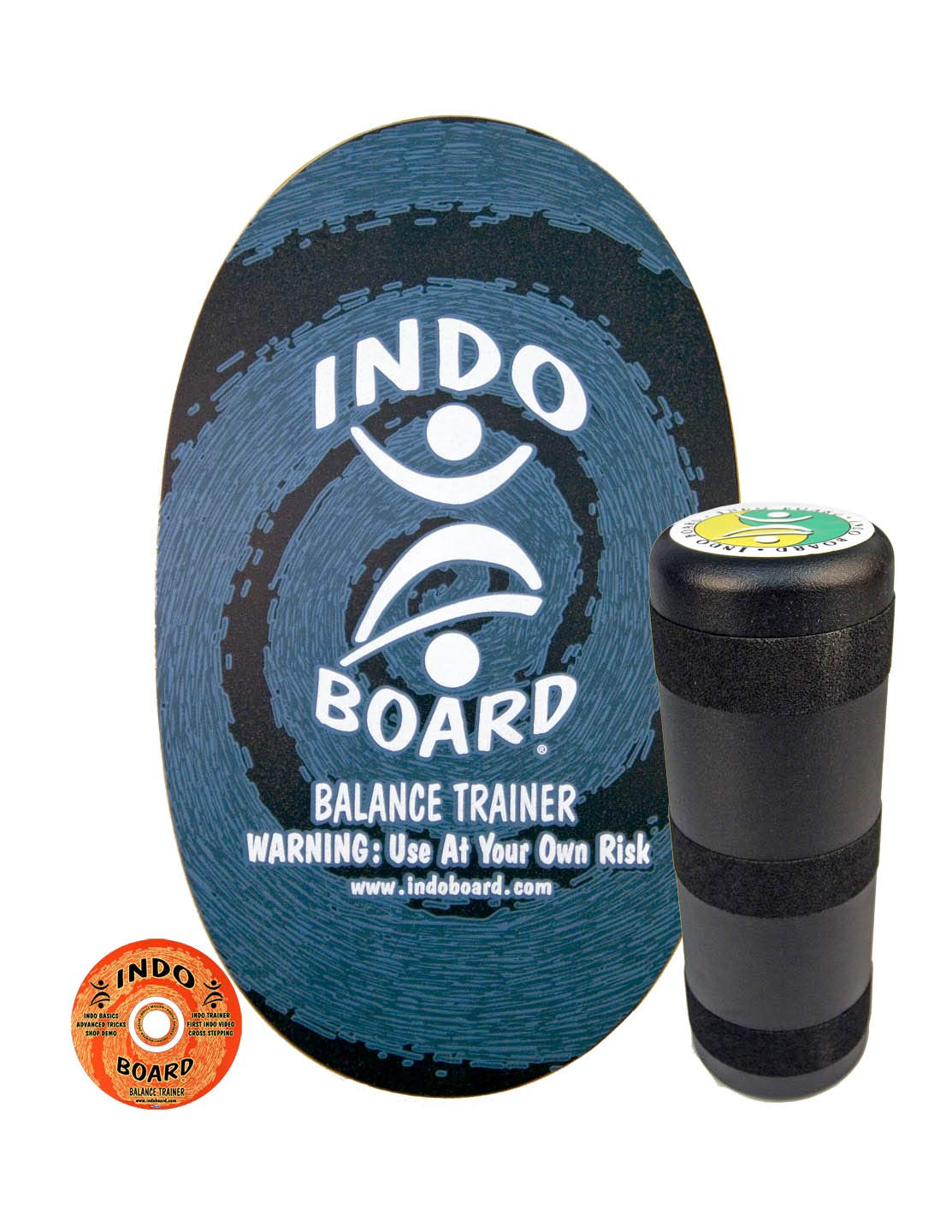 INDO BOARD Original Balance Board with 6.5'' Roller and 30'' X 18'' Non-Slip Deck - Blue Swirl Design by INDO BOARD (Image #1)