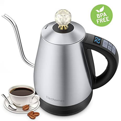 elechomes electric gooseneck kettle with 12 settings variable temperature control for drip coffee and tea