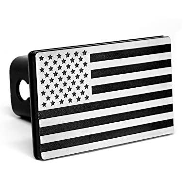 "MULL USA American Flag Aluminum Trailer Hitch Cover (Fits 2"" receivers, Aluminum Black): Automotive"