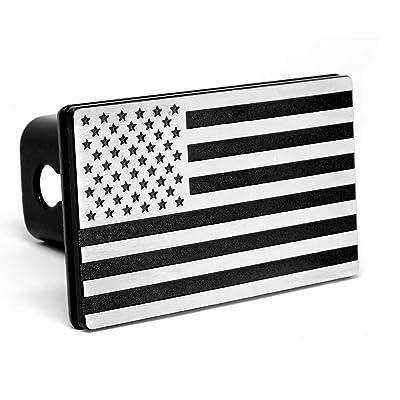 "MULL USA American Flag Aluminum Trailer Hitch Cover (Fits 2"" receivers, Aluminum Black): Automotive"