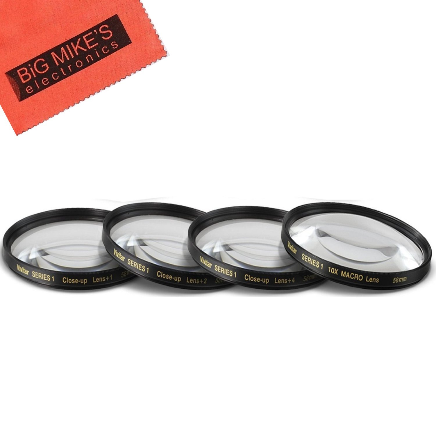 58mm Close-Up Filter Set (+1, 2, 4 and +10 Diopters) Magnificatoin Kit for Select Canon, Nikon, Sony, FujiFilm, Olympus, Pentax, Sigma, Tamron Digital Cameras and Camcorders by Big Mike's