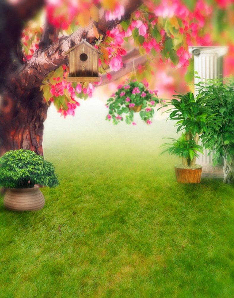 Nature Green Grassピンク花ツリー写真の背景幕写真小道具Studio背景5 x 7ft   B01HPBQAVO