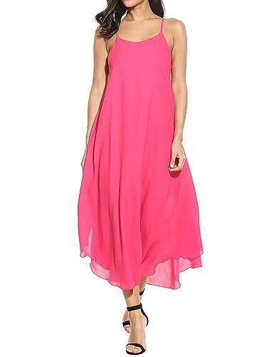 Zeagoo Women Fashion Halter Sleeveless Solid Party Beach Chiffon Long Maxi Sun Dress
