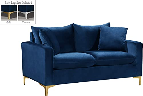 Meridian Furniture Naomi Collection Modern Contemporary Velvet Upholstered Loveseat with Stainless Steel Base in Rich Gold or Chrome Finish, Navy, 58 W x 33.5 D x 30 H