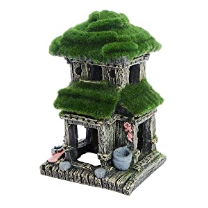 Saim Aquarium Resin Ancient House Decorations Fish Tank Landscape Ornament