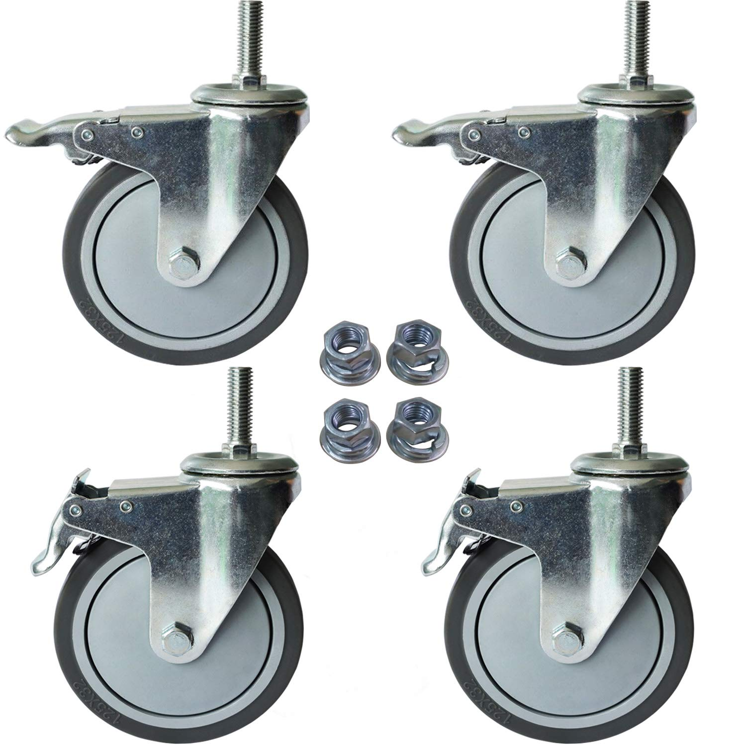 """5 Inch Total Lock Caster - 1/2""""-13 x 1.5"""" Swivel Threaded Stem Casters Wheels with Brake - Grey TPR Rubber Wheel (Set of 4)"""
