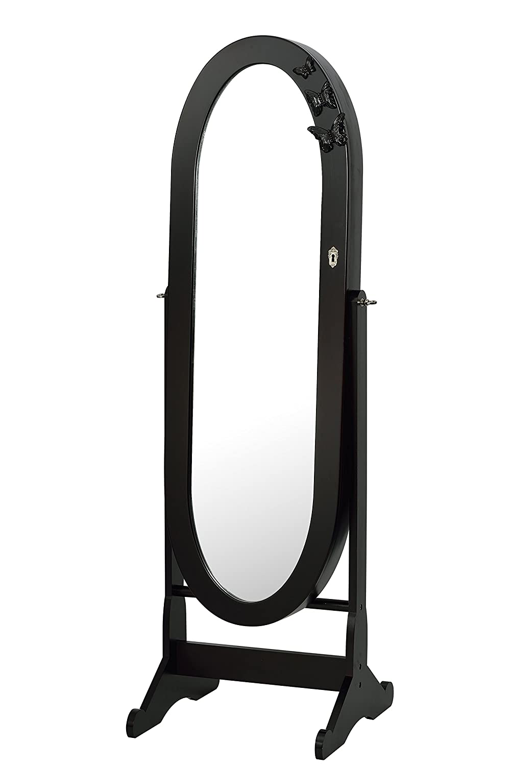 Oval Mirrored Jewelry Cabinet Armoire Stand, Mirror, Necklaces, Bracelets, Rings DARK BROWN ViscoLogic