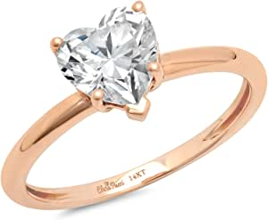 Clara Pucci 1.2 CT Heart Brilliant Cut Solitaire Anniversary Promise Engagement Ring Real 14K Rose Gold
