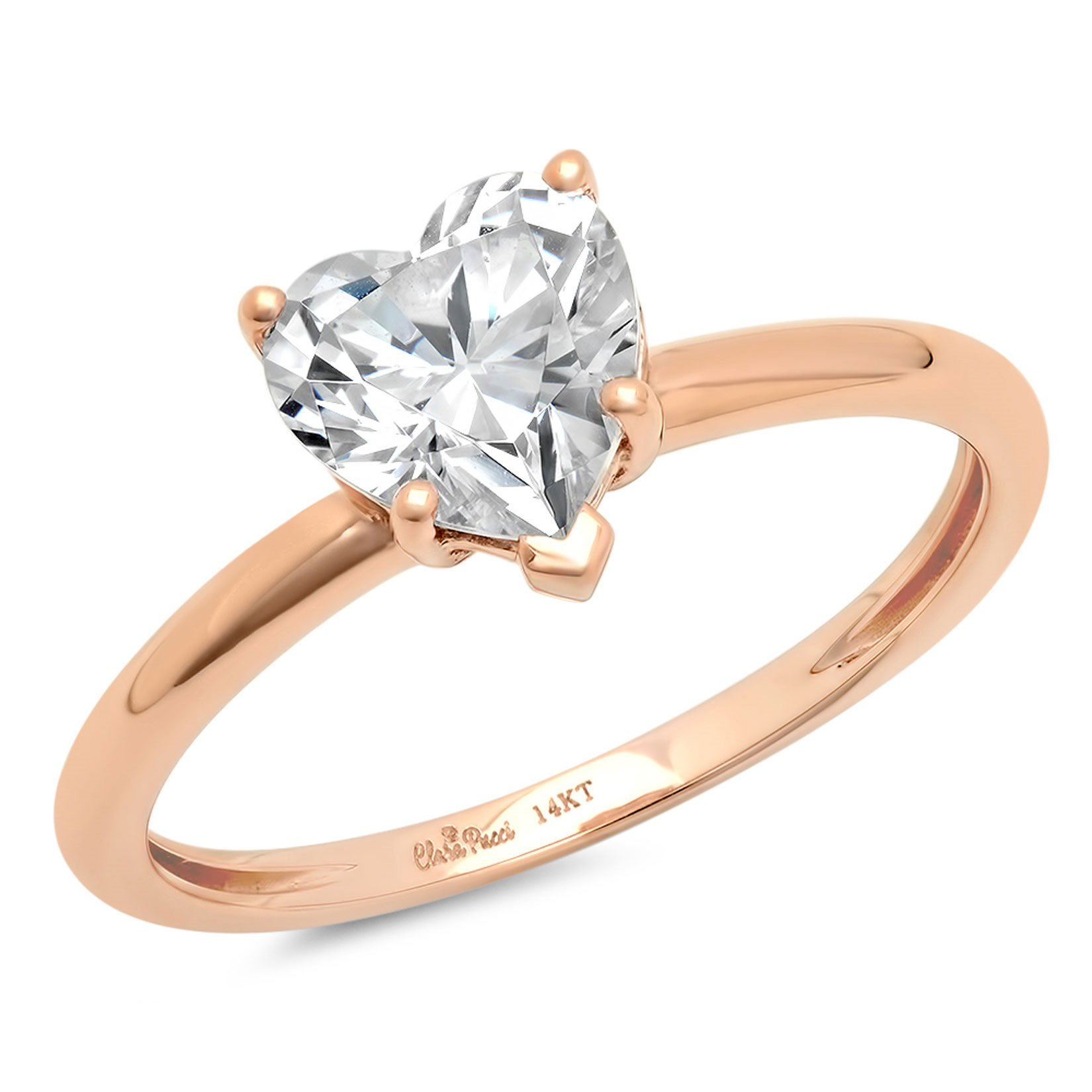 Clara Pucci 2.10 ct Brilliant Heart Cut CZ Designer Solitaire Ring in Solid 14k Rose Gold