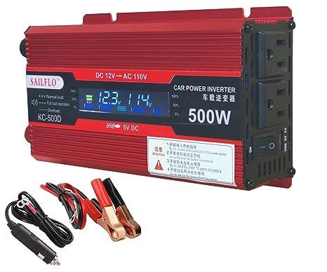 Power Inverter 500W/1000W DC 12V to 110V AC Car Inverter Outlets 2 on