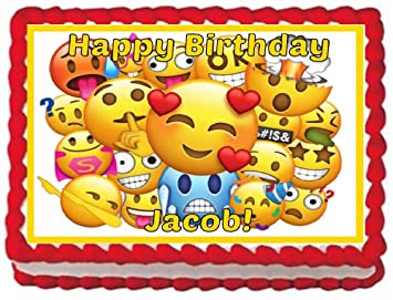 Emoji Personalized 1 4 Sheet Edible Cake Topper Image For Birthdays Parties
