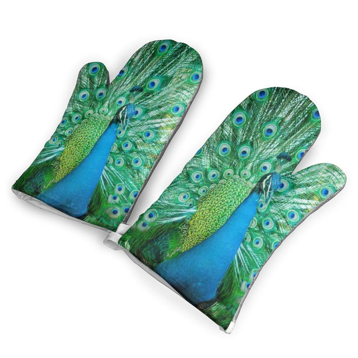 Peacock with Feathers Oven Mitts,Professional Heat Resistant Microwave Oven Insulation Thickening Gloves Baking Pot Mittens Soft Inner Lining Kitchen Cooking