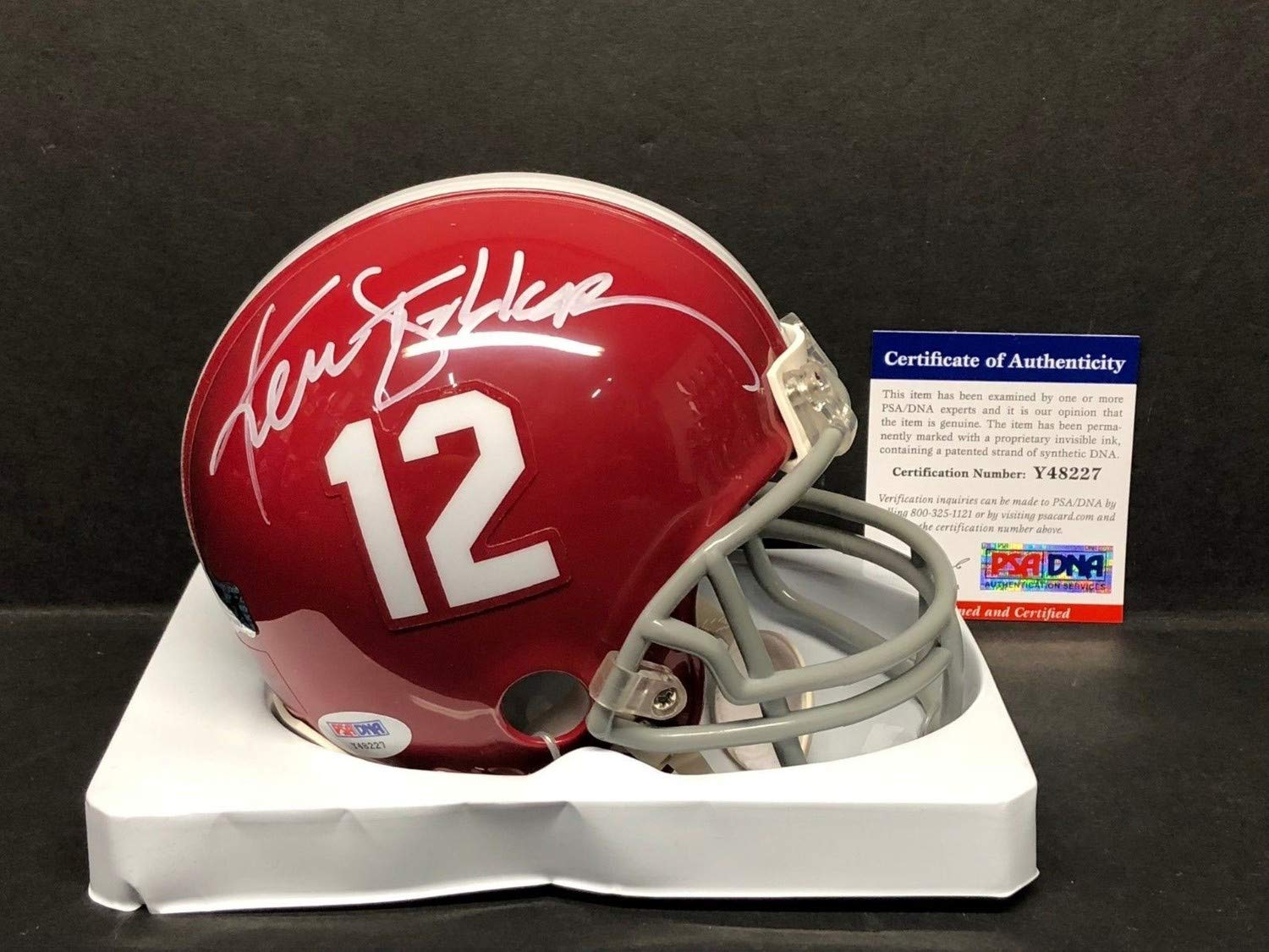 b81a76df Ken Stabler Autographed Signed Alabama Crimson Tide Football Mini ...